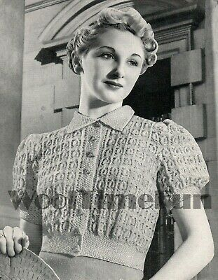 Knitting Pattern Vintage 1940s Ladies Patterned Cardigan/Jumper With Collar.   • 1.70£