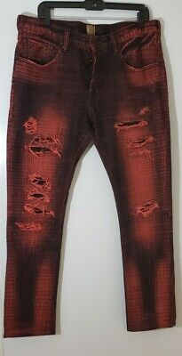 PRPS Demon Rare Brick Red Black Distressed Jeans Men's 36x42 New York Japan EUC • 67.95£