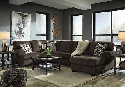 $1195 • Buy Ashley Furniture Jinllingsly Chocolate 3 Piece Sectional Living Room Set