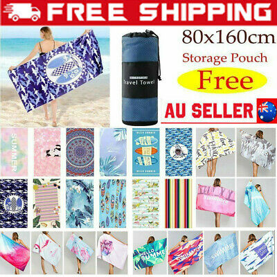 AU20.96 • Buy 80x160cm Large Microfibre Sand-free Beach Towel Quick Dry Travel BPCh Men Women