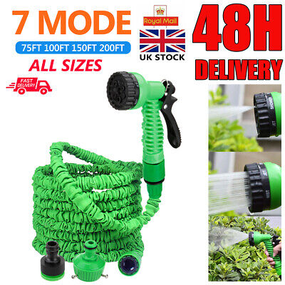 Expandable Flexible 75-200FT Garden Magic Water Hose Pipe Spray Gun Heavy Duty! • 12.59£