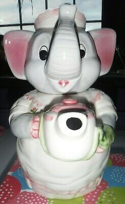 Novelty Lady Elephant Shaped Teapot / Pink & White. (Used) • 10.50£