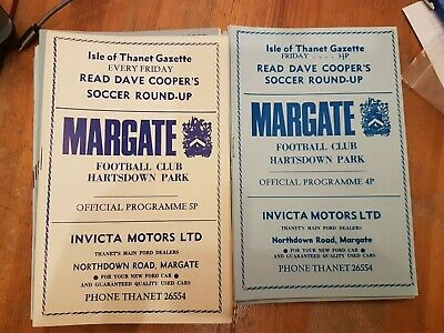 Selection Of Margate Home Programmes UPDATED NOVEMBER 11th • 2.50£