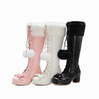 Women Knee High Boots Bowknot Sweet Pompom Mid Heel Cosplay Strappy Shoes Ting1 • 36.50£