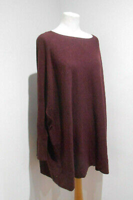 Phase Eight Burgundy Drape Slouchy Knit Long Jumper M 12 14 Casual Cosy • 20£