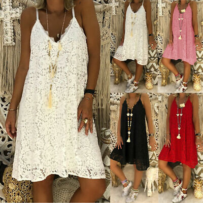 AU27.54 • Buy Womens Ladies Lady Crochet Strappy Dress Casual Holiday Beach Sundress Plus Size