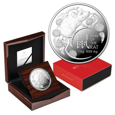AU2899 • Buy Rare 2020 Lunar Year Of The Rat RAM 1 Kg Silver Coin # 39 Of Tiny 100 Mintage