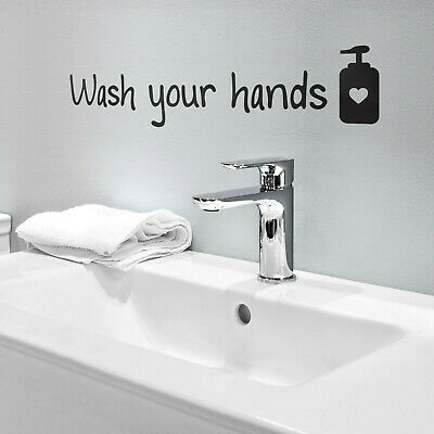 Sink Wall Sticker Wash Your Hands DIY Bathroom Wall Decoration Decals Removable • 1.59£