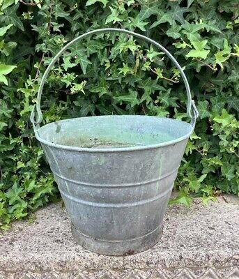 Small Vintage Galvanised Metal Bucket ~ Shabby Chic Garden Decor Planter • 15.99£