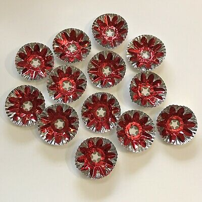 $ CDN60 • Buy Vintage Christmas Light Reflector Lot Covers Colorful Foil Pretty Xmas Red