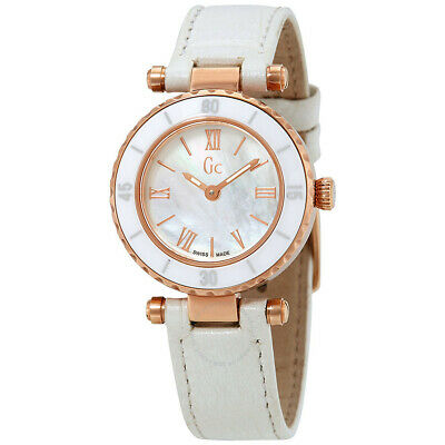 $ CDN126.87 • Buy Guess Collection GC Women's Mini Mother-of-Pearl Rose Gold White Leather Watch