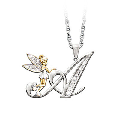 Stunning Tinkerbell Fairy Alphabet Letter  A   Pendant Necklace With Organza Bag • 2.99£