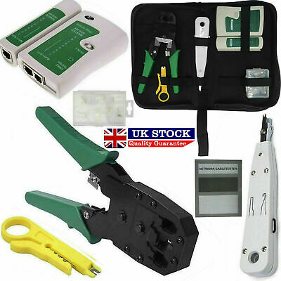 Tool Kit | Networking Ethernet RJ45 Connectors Crimper Punch Down Cable Tester • 9.75£