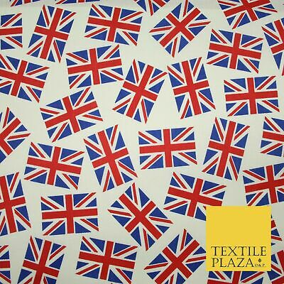 White Blue Red Falling Union Jack British Flags 100% Cotton Fabric 58  Wide 5077 • 7.99£