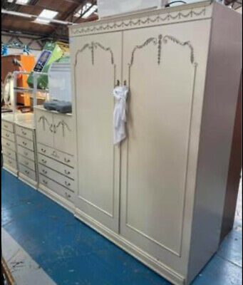 Vintage French Louis Style Bedroom Set Dressing Table, Wardrobe, Chests Etc • 250£