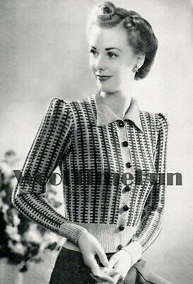 Knitting Pattern Lady's Vintage 1940s Patterned Cardigan. Long/Short Sleeves. • 1.70£