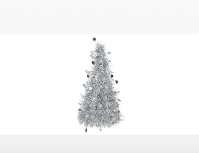 Silver Tinsel Christmas Tree Table Centrepiece • 4.95£