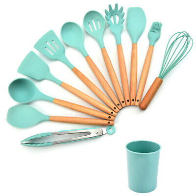 AU35.98 • Buy BPA Free Set Of 12 Silicone Utensils Set Wooden Cooking Kitchen Baking Cookware
