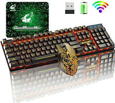 AU62.89 • Buy Rainbow LED Backlit Wireless Gaming Keyboard And Mouse Sets For PC PS4 Xbox Mac