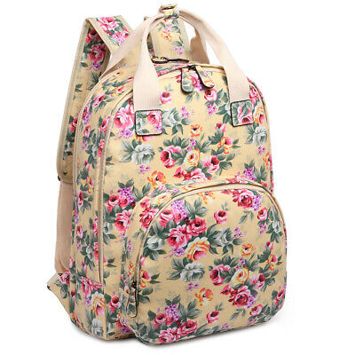 Large Ladies Matte Oilcloth School Shoulder Bag Girls Floral Rucksack Backpack • 9.99£
