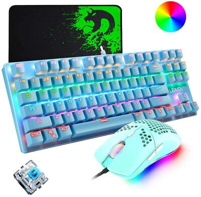 AU72.89 • Buy Blue Wired Mechanical Gaming Keyboard Mouse And Mice Pad RGB Backlit For PC PS4