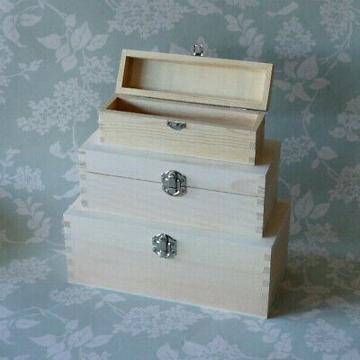 £4.90 • Buy Rectangular Wooden Pencil Box With Clasp Craft Gift Storage To Paint Decoupage