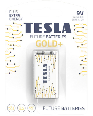 Tesla Batteries -Gold+ Alkaline Battery -9V- 6LR61/9V -PP3- Heavy Duty Battery  • 3.99£