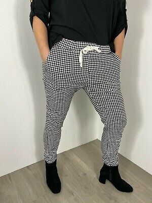 £24.99 • Buy Magic Pants Stretchy Magic Trousers Dogtooth Checked Plus Size 18-22 Black White