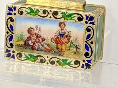 Austrian Silver And Picture Enamel Pill Box, Gold Washed Interior Circa 1872 • 425£