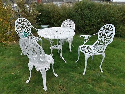 Cast Metal/ Aluminium Bistro Patio Set Garden Table And 4 Chairs (2 Carver)  • 300.99£