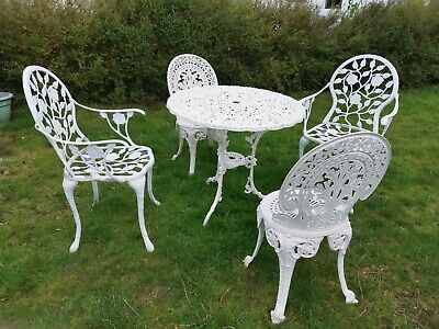 Cast Metal Garden Table And 5 Chairs (2 Carver) Bistro Patio Set • 350£
