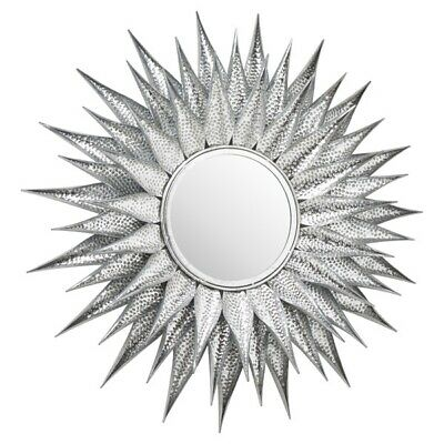 Ohlson Silver Large Sunburst Mirror - Modern Contemporary Wall Hanging Mirror • 133.99£