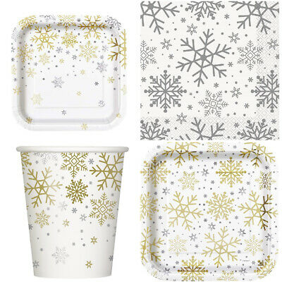 £3.99 • Buy Snowflake Christmas Festive Party Tableware Paper Plates Napkins Cups Xmas Party