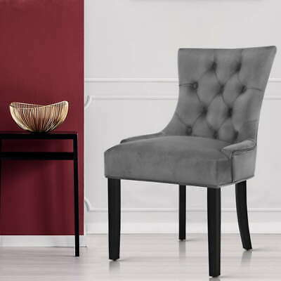 AU201.50 • Buy Artiss 2x Dining Chairs French Provincial Retro Chair Wooden Velvet Fabric Grey