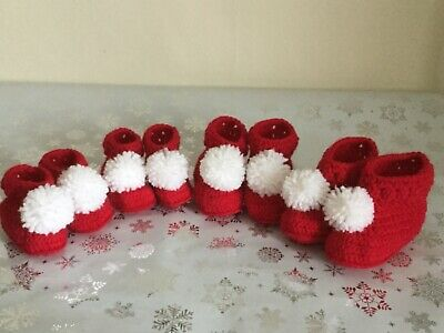 Knitted Crochet Xmas Baby Booties Bootees Red With White Pompom 0-12 Months • 7.25£