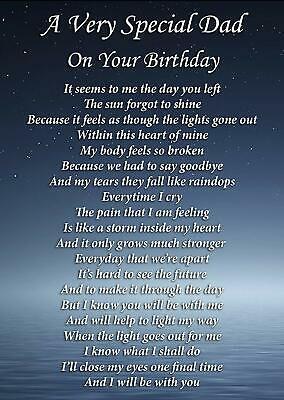 Special Dad On Your Birthday Memorial Graveside Poem Card & Ground Stake F282 • 2.99£