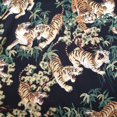 £4.13 • Buy Japanese Fabric Shina Tigers By Nutex 100% Cotton 112cm Wide Black Metallic