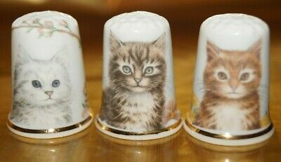 Set Collection Thimble - Three Thimbles Lovely Cats • 4.50£