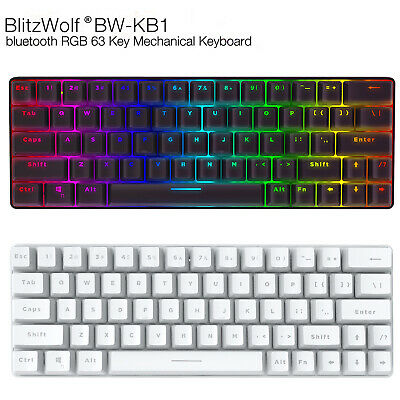 AU79.99 • Buy BlitzWolf BW-KB1 63 Keys RGB Custom Bluetooth Wired Mechanical Gaming Keyboard