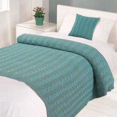 £19.99 • Buy Large Cable Knit Luxury Blanket Throw 100% Cotton Teal 120cm X 150cm Christmas
