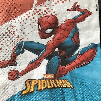 £2.25 • Buy 5 Paper Party Napkins Spiderman White Pack Of 5 2 Ply Serviettes