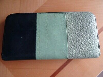 Fossil Leather Zip Around Purse / Wallet Greens & Navy • 7.50£