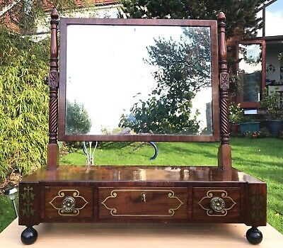 £695 • Buy Rare Antique Channel Islands Regency Brass Inlaid Dressing Table Mirror. 1830