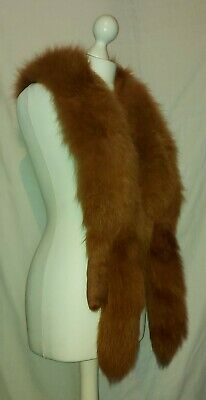 £48 • Buy Vintage Fox Fur Stole Wrap Single Head Double Pelt Red Ginger Brown Lining