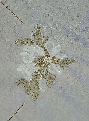 $ CDN37.49 • Buy Vintage Hand Embroidered Christmas Runner Linen Tablecloth Lace