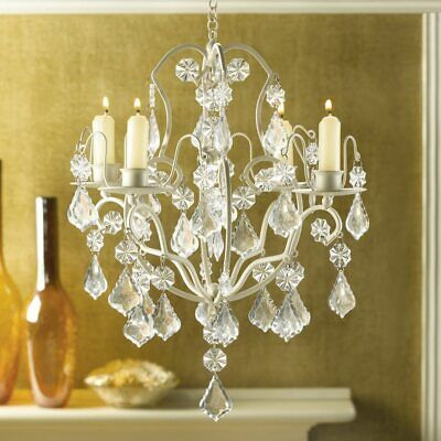Jeweled Ivory Baroque Hanging Chandelier Candle Holder Crystal Candelabra • 29.43£