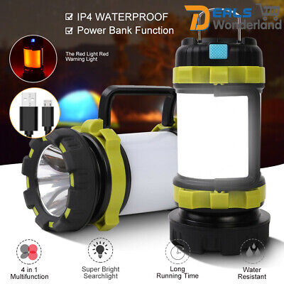 AU27.95 • Buy Rechargeable LED Camping Lantern Outdoor Tent Light Lamp & Power For Phone