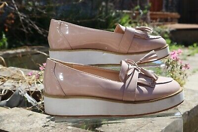 Womens Ladies  Flat Creeper Chunky Sole Work Bow-tassle Loafers Shoes Size • 5£