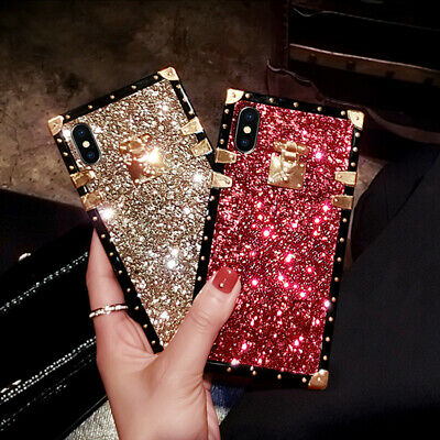 AU12.85 • Buy Bling Glitter Luxury Metal Square Case Cover For IPhone 12 11 Pro XS Max XR 7 8