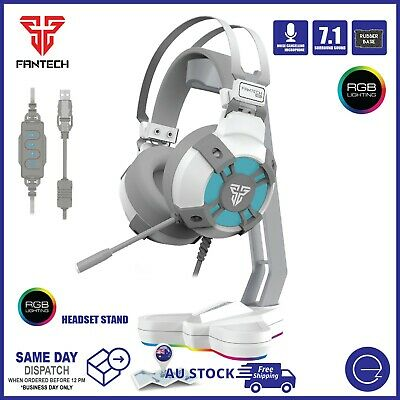 AU79 • Buy PC Gaming Headset USB Wired Mic 7.1 Surround Sound RGB Light With Stand Bundle